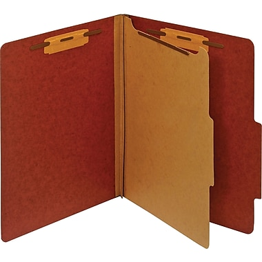 Staples® Pressboard Classification Folder, 1 Divider, Letter, Red, 5/Pack (