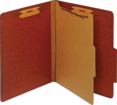 Staples® Pressboard Classification Folder, 1 Divider, Letter, Red, 5/Pack (