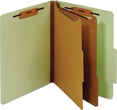 Staples® Classification Folder, 2 Dividers, Letter, Green, 5/Pack