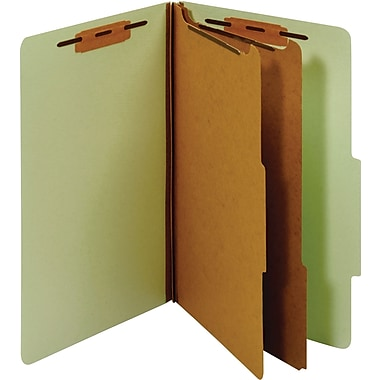 Staples® Classification Folder, 2 Dividers, Legal, Green, 5/Pack