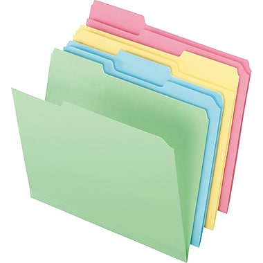 Staples® Colored Top-Tab File Folders, 3 Tab, Assorted Pastels, Letter Size, 24/Pack