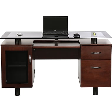 Z Line Designs Hudson Executive Double Pedestal Desk Rich Cherry