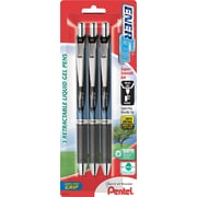 Pentel EnerGel RTX Retractable Gel Pen, Fine Point, Black Ink, 3/Pack (BLN75BP3A)