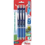Pentel EnerGel RTX Retractable Gel Pens, Fine Point, Blue Ink, 3/Pack (BLN75BP3C)