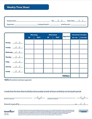 Complyright Weekly Timesheet Forms  Staples