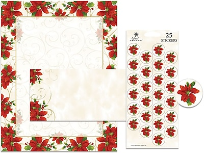 Great Papers Holiday Stationery Kit Poinsettia Swirl, 25/Count 319817
