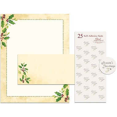 Great Papers® Holiday Stationery Kit Falling Holly, 25/Count