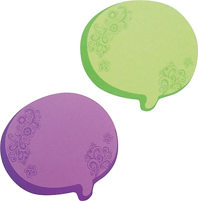 Redi-Tag® Thought Bubble Notes, 2 3/4 x 3, Neon Green/Purple, 76-Sheet Pads, 2-Pads/St (22102)