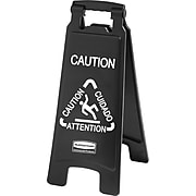 """Rubbermaid® Commercial Executive 2-Sided Multi-Lingual Caution Sign, 10 9/10"""" x 26 1/10"""", Plastic, Black, Each (RCP 1867505)"""