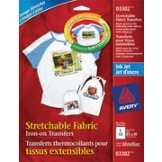 "Avery® Stretchable Inkjet T - Shirt Transfers, 8 - 1/2"" x 11"", White, 5/Pack"