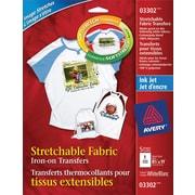 Avery - Décalques extensibles pour t-shirts pour jet d'encre, 8 1/2 x 11 po, blanc, 5/paquet