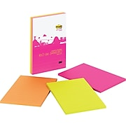 """Post-it® Super Sticky Notes, 4"""" x 6"""", Rio de Janeiro Collection, 3 Pads/Pack (660-3SSRD)"""