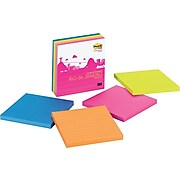"""Post-it® Super Sticky Notes, 4"""" x 4"""", Rio de Janeiro Collection, 4 Pads/Pack (675-4SSRD)"""