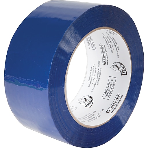 """Duck Commercial Grade Color-Coding Packaging Tape, 1.88""""W x 109.3 yards, 3""""W Core, Blue (240301)"""