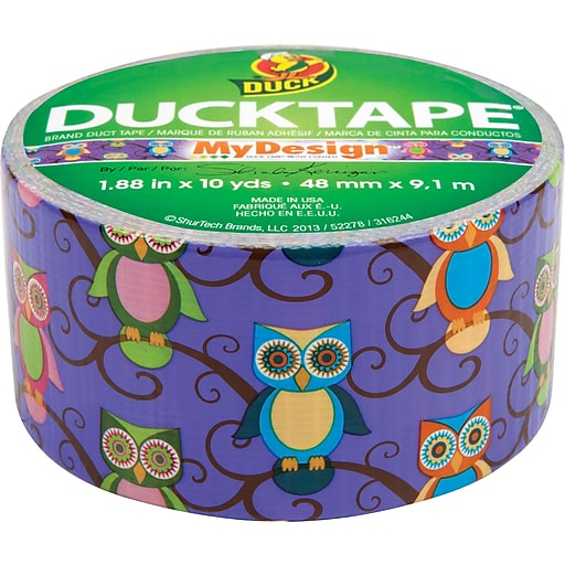 """Colored Duct Tape, 1.88"""" x 10 Yds., 3"""" Core, Retro Owl"""