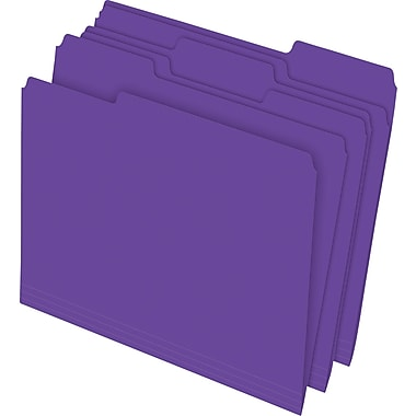 Staples® Colored Top-Tab File Folders, 3 Tab, Purple, Letter Size, 24/Pack