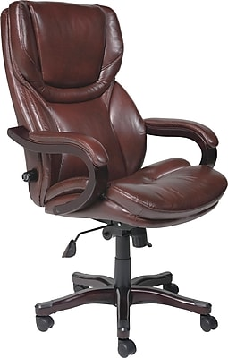 Serta Executive Big and Tall Bonded Leather Office Chair, Brown