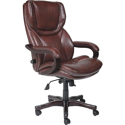 Leather Office Chair Brown Rollover Image To Zoom In Https Www Staples 3p S7 Is