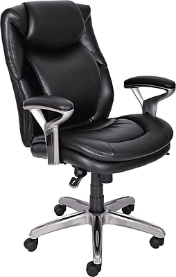 Serta AIR™ Health and Wellness Leather Computer and Desk Office Chair, Fixed Arms, Black, Leather, Black (44103)