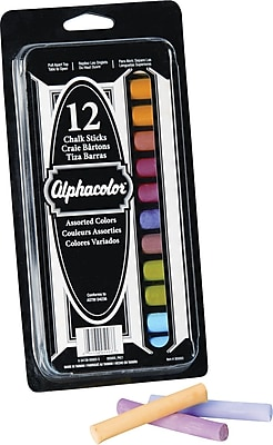 Alphacolor Chalk Sticks, Assorted Colors, 8 Colors, 12/Pack 510178
