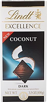 Lindt Excellence Dark Chocolate Coconut Bar, 12/Pack