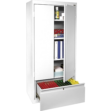 Sandusky® 2-Adjustable Shelves Storage Cabinet with File Drawer, White