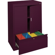 Sandusky® Counter-Height Storage Cabinet with File Drawer, Burgundy