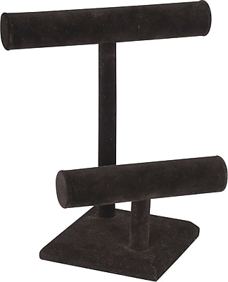 T Bar Jewelry 2 Tier, Black, 9 1/2