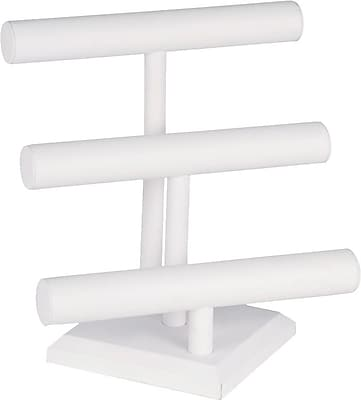 Jewelry 3 Tier T-Bar, White Leatherette, 12