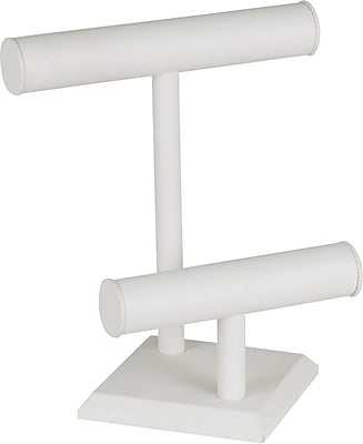 Jewelry 2 Tier T-Bar, White Leatherette 9 1/2