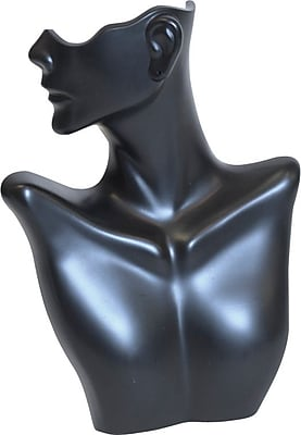 Side-Partial Face Earring/Necklace Display, Black, 9-1/4