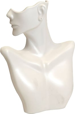Side-Partial Face Earring/Necklace Display, White, 9-1/4