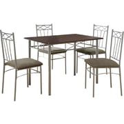 Monarch 5 Piece Dining Set, Cappuccino / Silver Metal