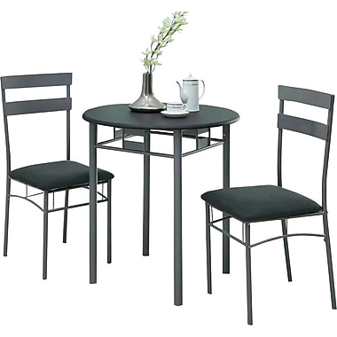 Monarch Metal 3 Piece Dining Set, Black/Silver