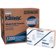 Kleenex® Multi-Fold Paper Towels, 1-Ply, White, 150 Towels/Pack, 8 Packs/Carton (02046)