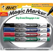 BIC® Magic Marker® Dry-Erase Markers, Pocket Style, Black and Assorted Ink Colors, 4/Pack