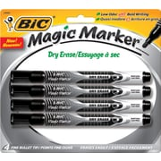 BIC Magic Marker Dry Erase Markers, Pocket Style, Black, 4/Pack by