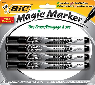 BIC® Magic Marker® Dry-Erase Markers, Pocket Style, Black, 4/Pack