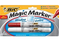 BIC® Magic Marker® Window Markers, Tank Style, Red and White, 2/Pack