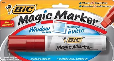 BIC® Magic Marker® Brand Window Marker, Chisel Tip, Red, 1/Pk