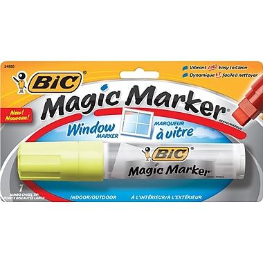 BIC® Magic Marker® Window Marker, Jumbo Chisel Tip, Yellow, Each
