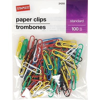 Staples® Standard Vinyl-Coated Paper Clips, Assorted Colours, 100 Pack