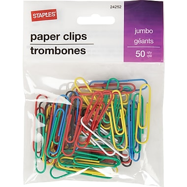Staples® Jumbo Vinyl-Coated Paper Clips, Assorted Colours, 50/Pack