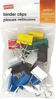 Staples® Binder Clip Med 15 PK Assorted - Core