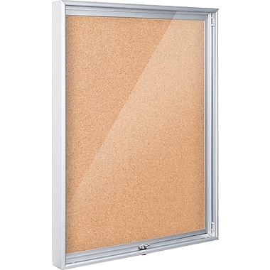 Best-Rite Economy Enclosed 4'W x 3'H Natural Cork Panel/Aluminum Frame Bulletin Board (94CAC)