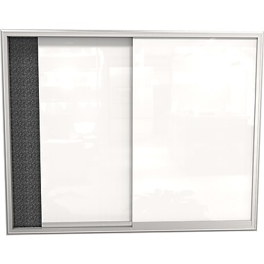 Best-Rite 4' x 3' Glass Whiteboard Sliding Enclosed Bulletin Board Black Recycled Rubber-Tak Panel/Aluminum Frame 94SVSC-95