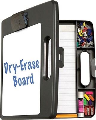 OIC Portable Dry-Erase Clipboard Box, Black/Gray, 14 1/2