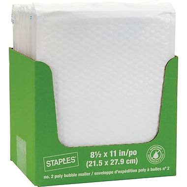 Staples® QuickStrip Bubble Wrap Lined White Poly Protective Mailer, #2, 8 1/2