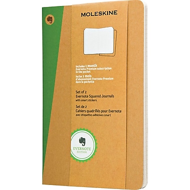Moleskine Evernote Journal with Smart Stickers, Large, Squared, Kraft, Soft Cover, 5