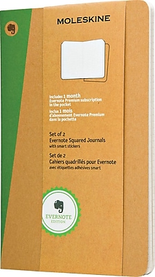 Moleskine Evernote Journal w/Smart Stickers, Lrg, Squared, Kraft, Soft Cvr, 5